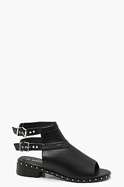 Peeptoe Studded Trim Shoe Boots