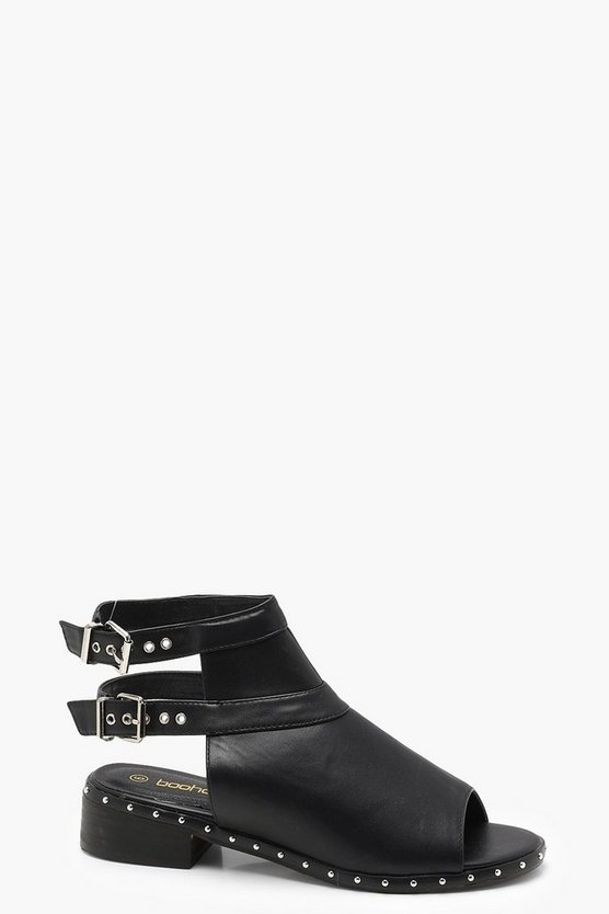 Peeptoe Studded Trim Shoe Boots