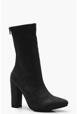 Black Suedette Sock Boots