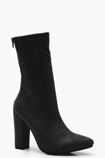 Womens Black Suedette Sock Boots