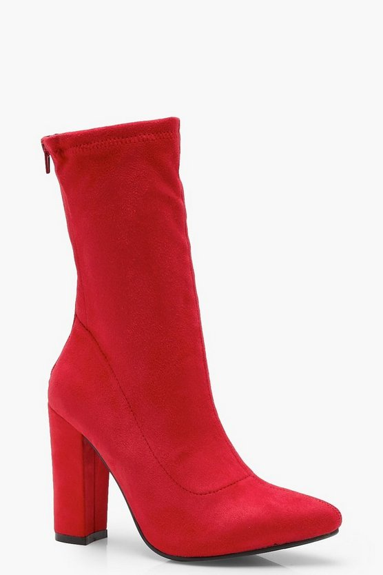 Womens Red Suedette Sock Boots