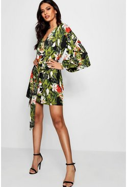 Womens Black Tie Front Ruffle Sleeve Printed Shift Dress