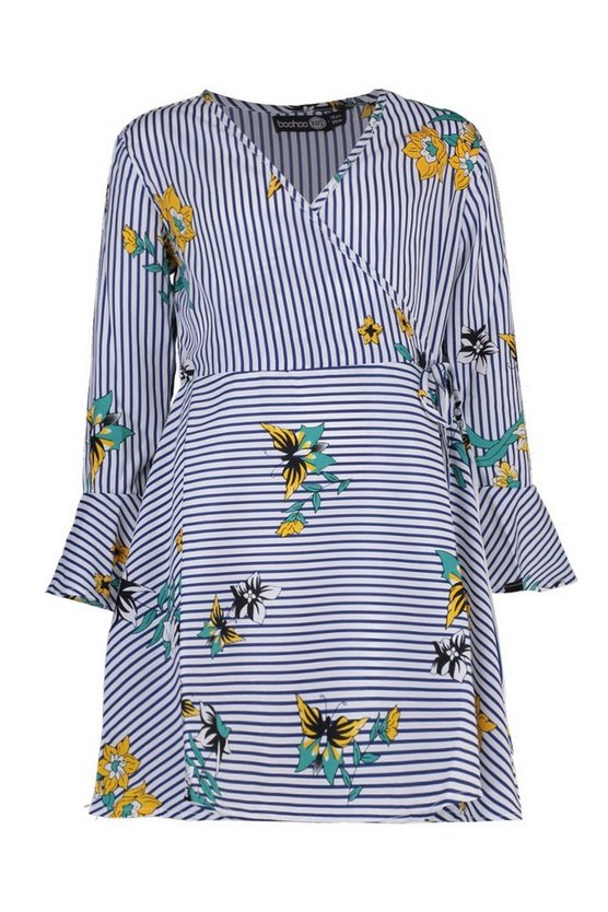 Girls Floral & Stripe Wrap Dress