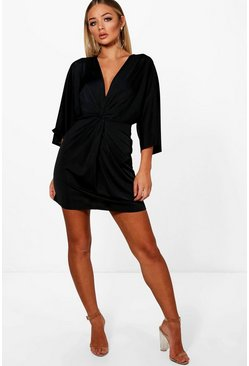 Womens Black Knot Front Slinky Shift Dress
