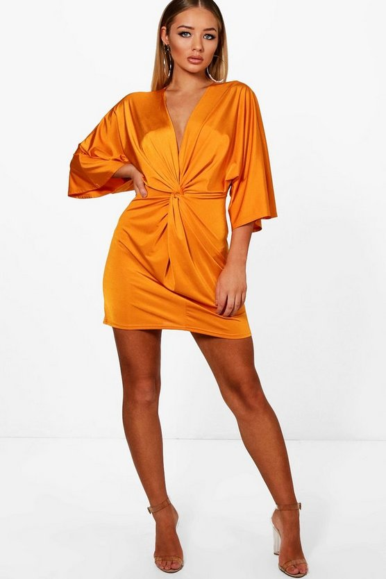 Knot Front Slinky Shift Dress