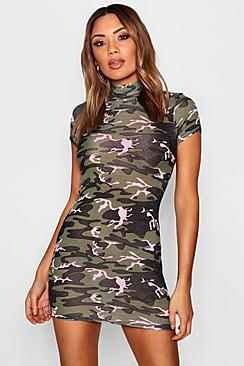 High Neck Camo Curved Hem Bodycon Dress