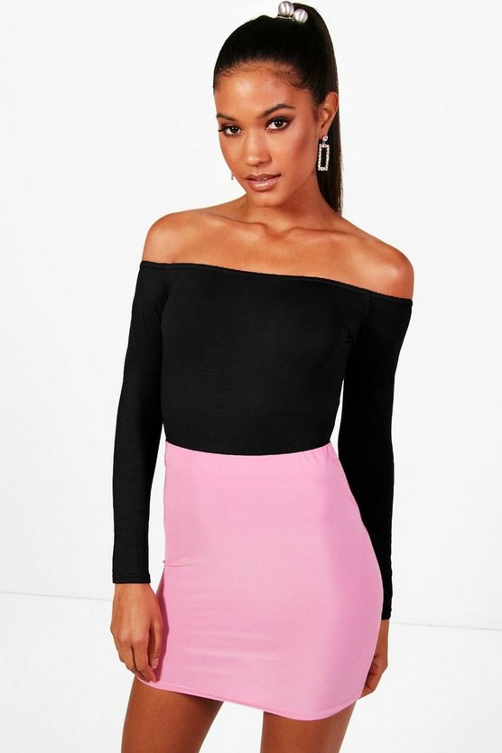 Womens Long Sleeve Bardot Crop Top