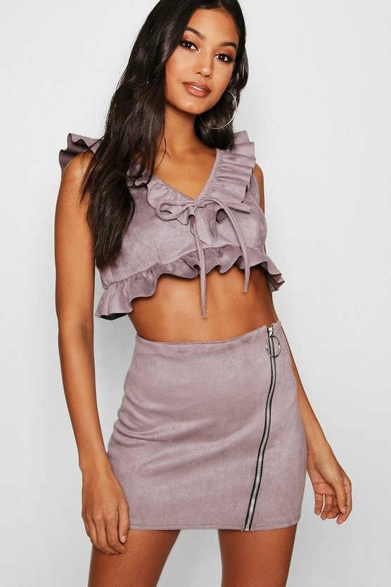 Ruffle Suede Zip Skirt Co-ord
