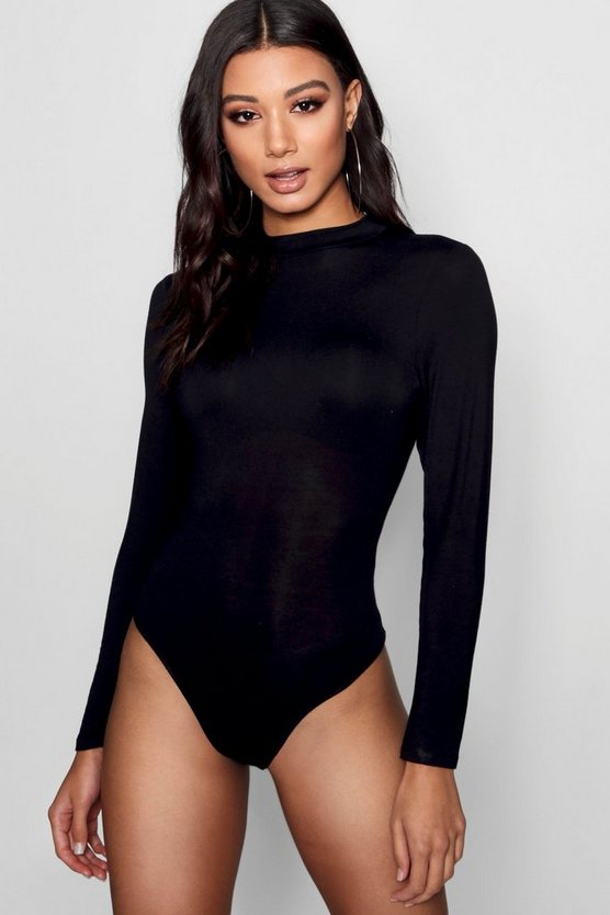 Womens Black Basic Turtle Neck Long Sleeve bodysuit