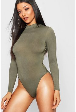 Khaki Basic Turtle Neck Long Sleeve bodysuit