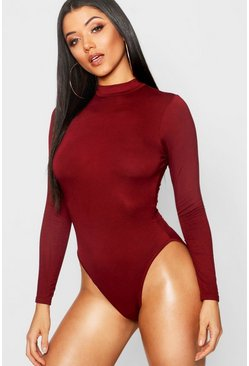 Womens Wine Basic Turtle Neck Long Sleeve bodysuit
