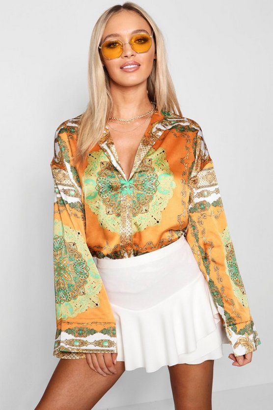 Womens Scarf Flare Sleeve Shirt