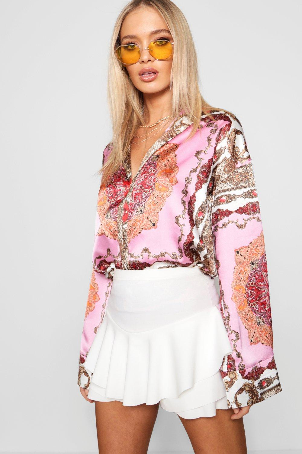 Scarf Scarf Flare Sleeve Flare Shirt pink Sleeve Scarf Sleeve pink Shirt Flare Shirt 1Oqr1w