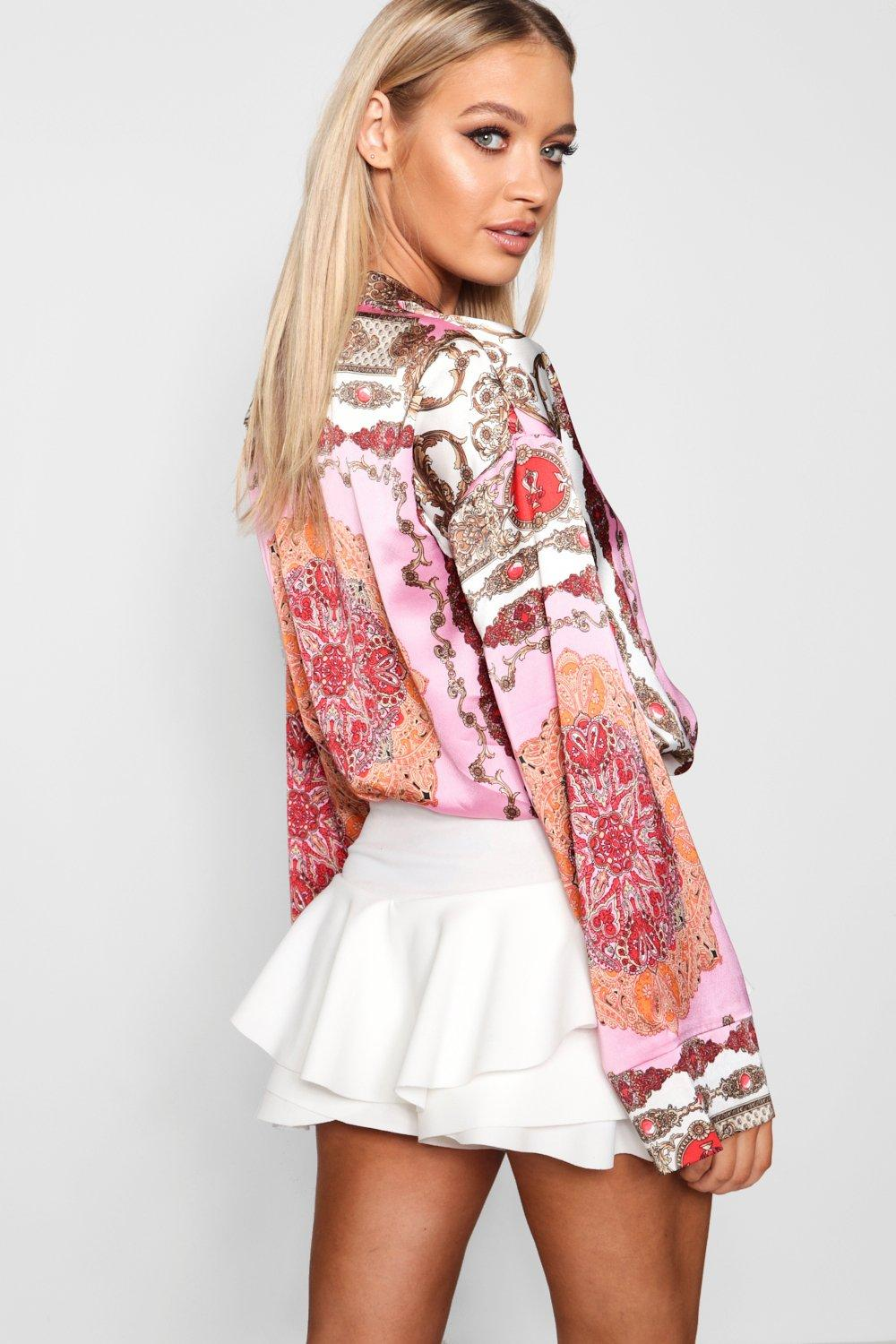 Shirt Sleeve Flare Scarf Scarf Flare Scarf Flare Shirt pink pink Sleeve TS11dxw