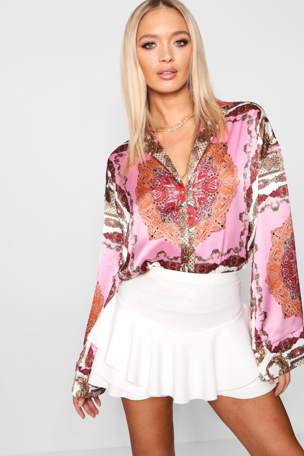Flare Shirt pink Sleeve Scarf Scarf Flare q60naY