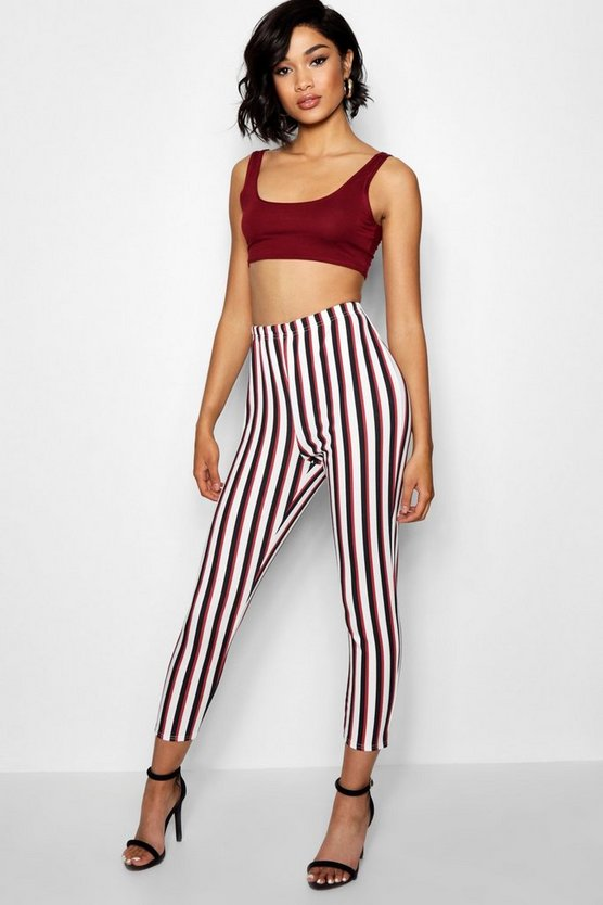 Highwaist Stripe Crepe Leggings