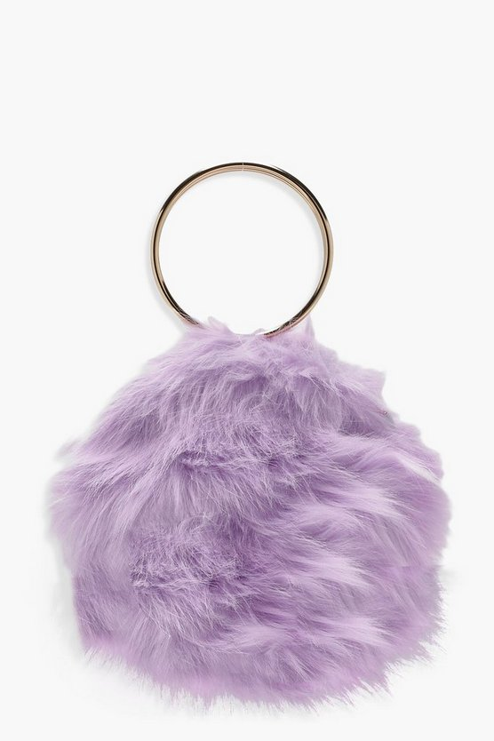 Double Ring Faux Fur Clutch