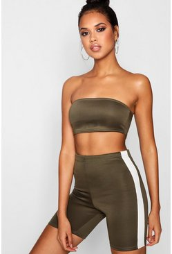 Womens Khaki Fit Bandeau Top