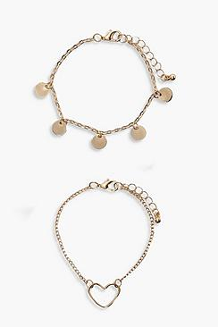 Coin & Heart Charm Bracelet 2pk