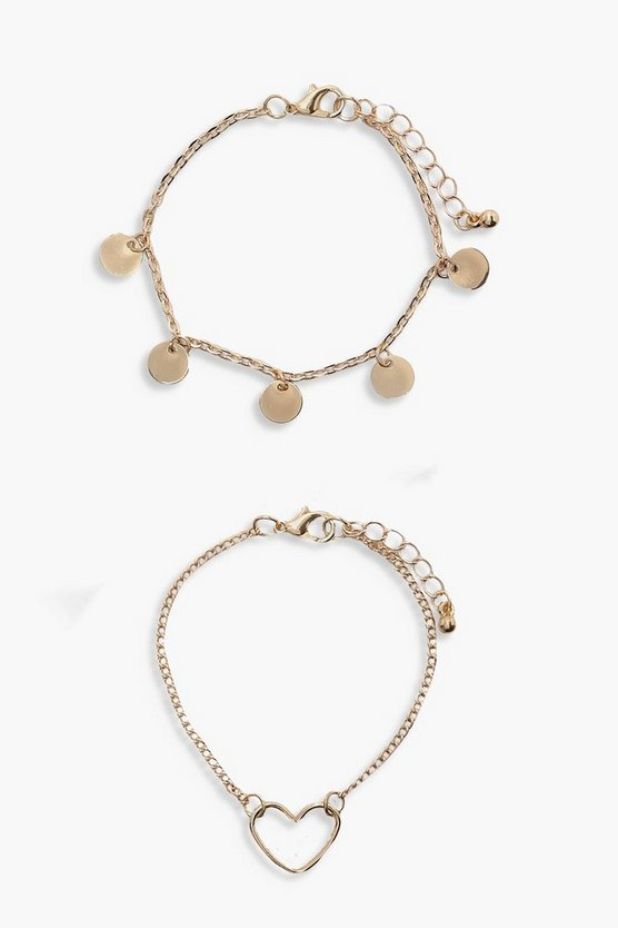 Womens Gold Coin & Heart Charm Bracelet 2pk