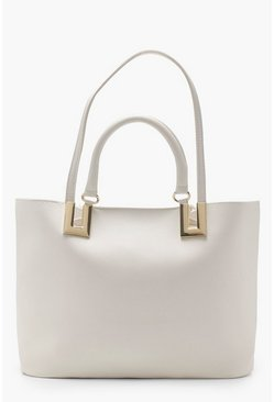 Womens Cream Metal Detail Double Handle Day Bag