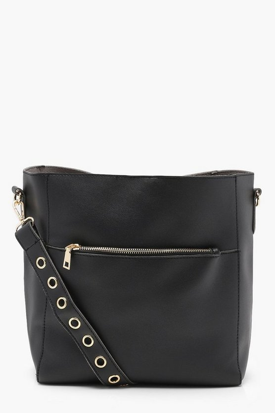 Womens Black Eyelet Strap Pocket Day Bag