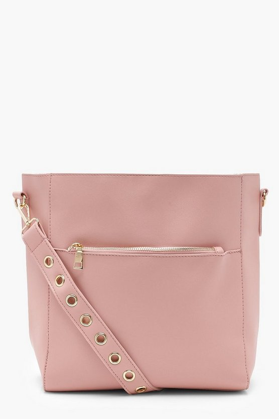 Eyelet Strap Pocket Day Bag
