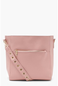Womens Blush Eyelet Strap Pocket Day Bag