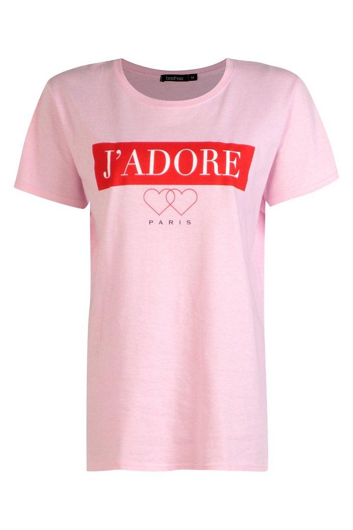 J'adore Paris t shirt abito a camicia | boohoo