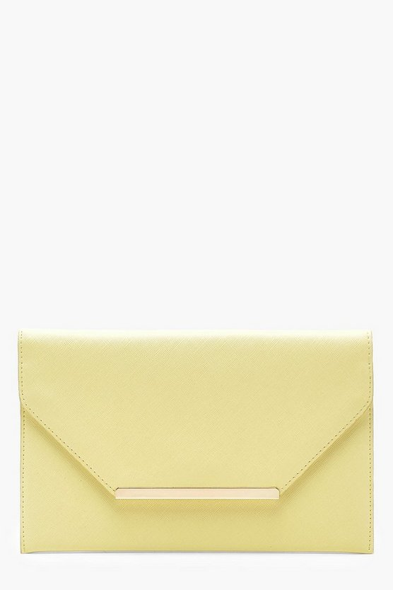 Womens Lemon Pastel Crosshatch & Bar Envelope Clutch