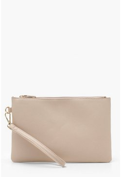 Womens Nude Crosshatch Clutch Bag