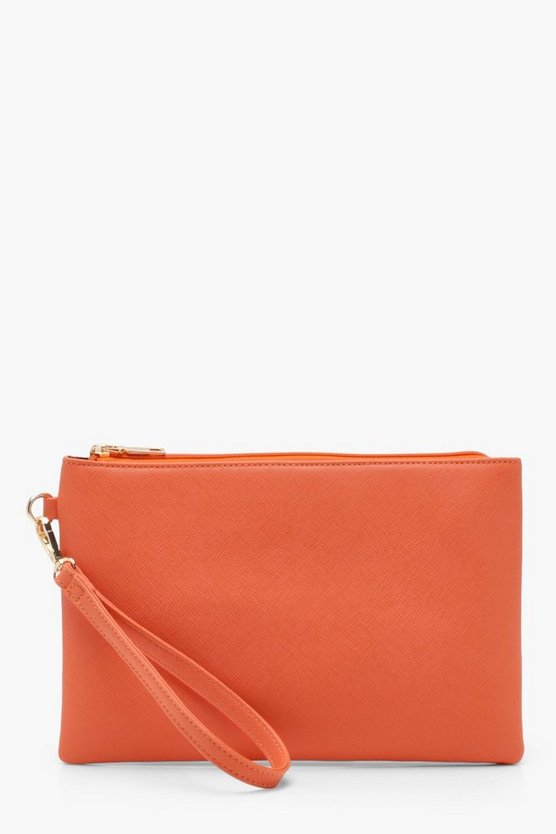 Womens Orange Crosshatch Clutch Bag