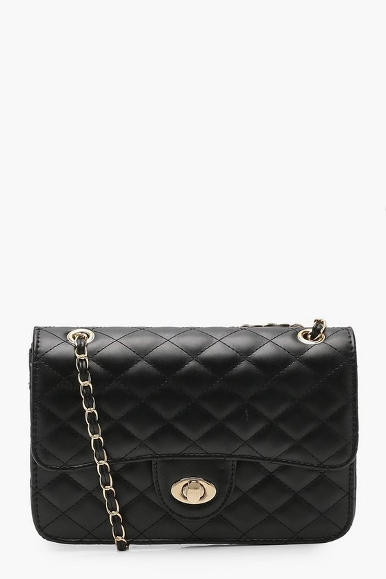 Womens Black Square Quilted Cross Body