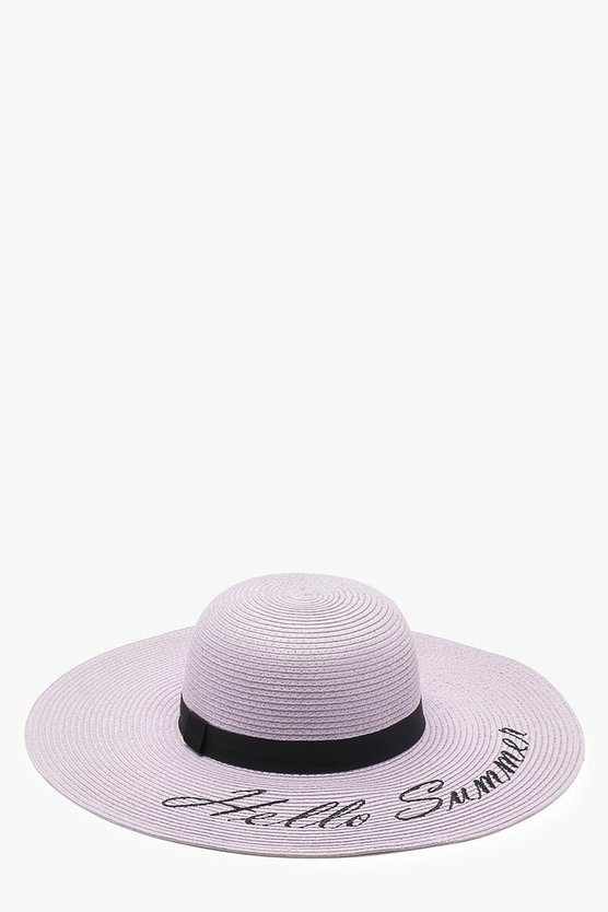 Hello Summer Slogan Straw Floppy Hat