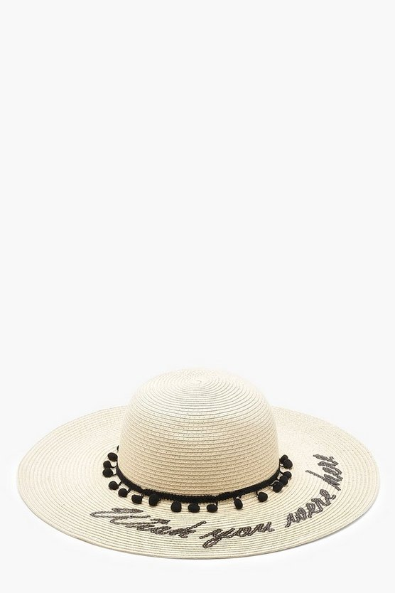 Wish You Were Here Slogan Straw Floppy Hat