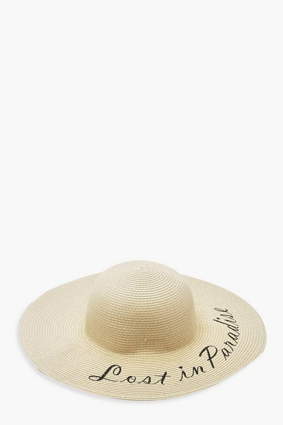 Lost In Paradise Slogan Straw Floppy Hat