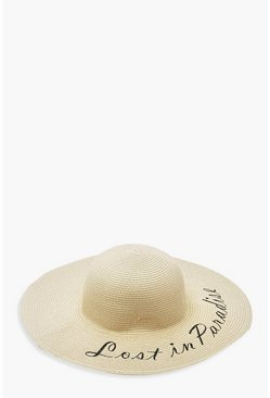 Womens Natural Lost In Paradise Slogan Straw Floppy Hat