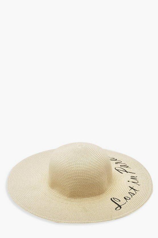 Lost In Paradise Slogan Straw Floppy Hat