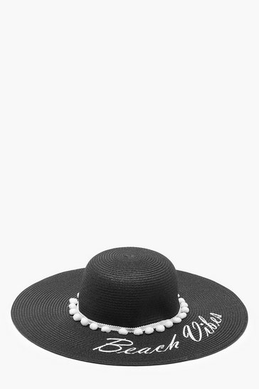 Womens Black Beach Vibes Slogan Straw Floppy Hat