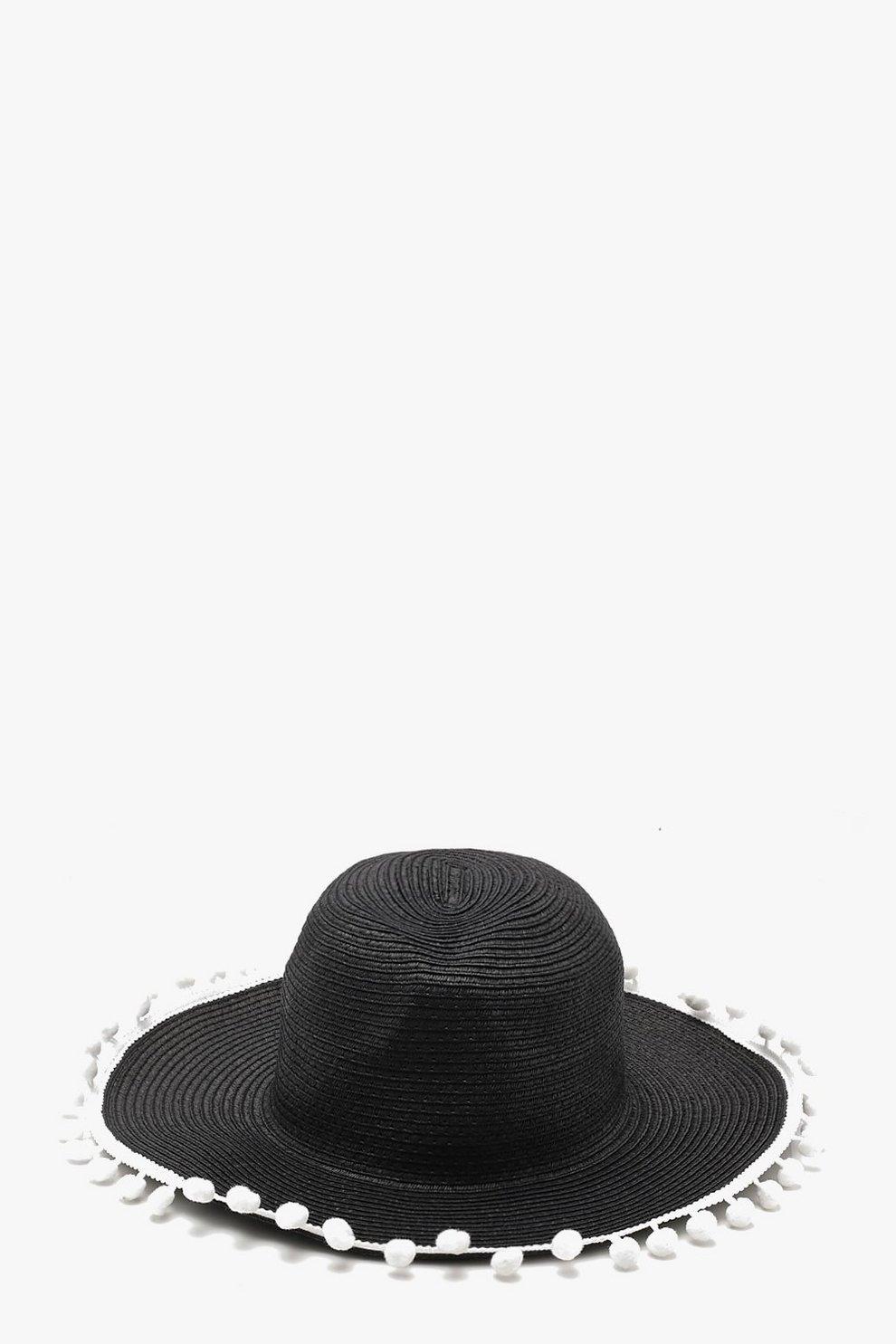 ba3d6174f69 Pom Pom Trim Straw Hat