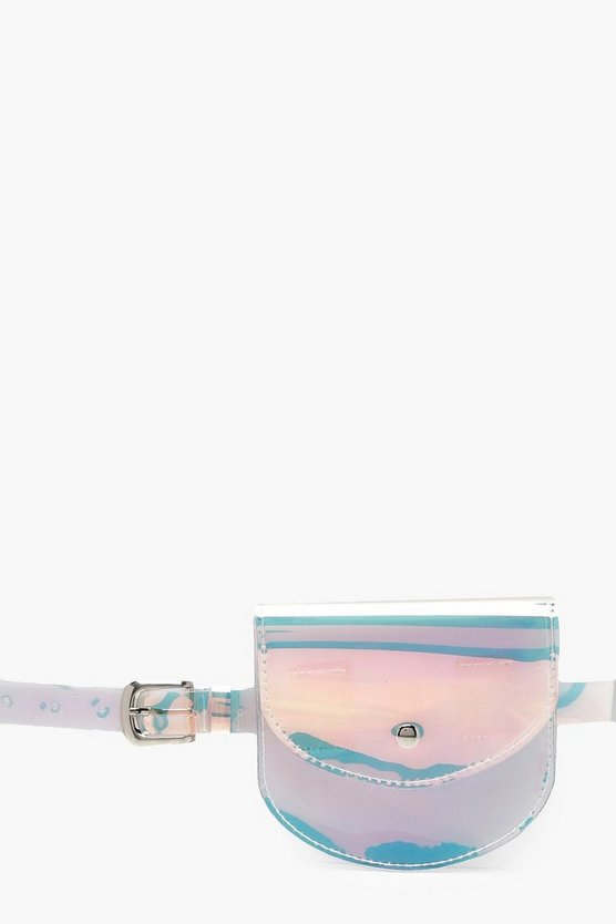 Womens Silver Holographic Belt Bag