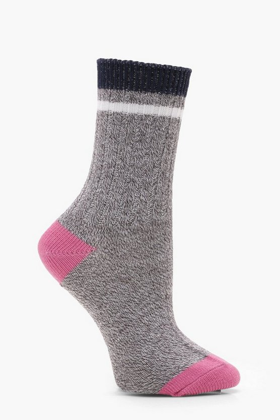 Contrast Heel Toe Ribbed Ankle Socks