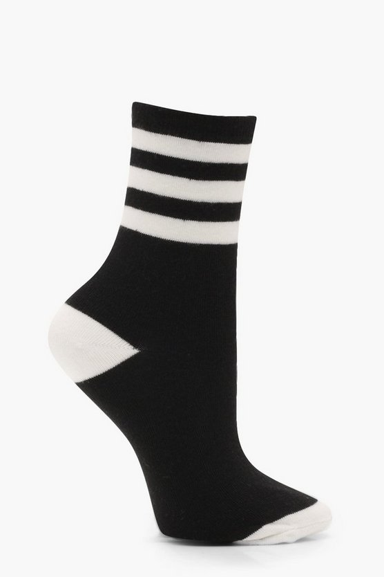 Olivia Monochrome Sports Stripe Ankle Socks