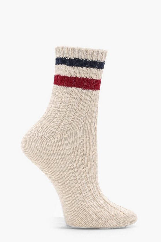 Sports Stripe Ribbed Marl Ankle Socks