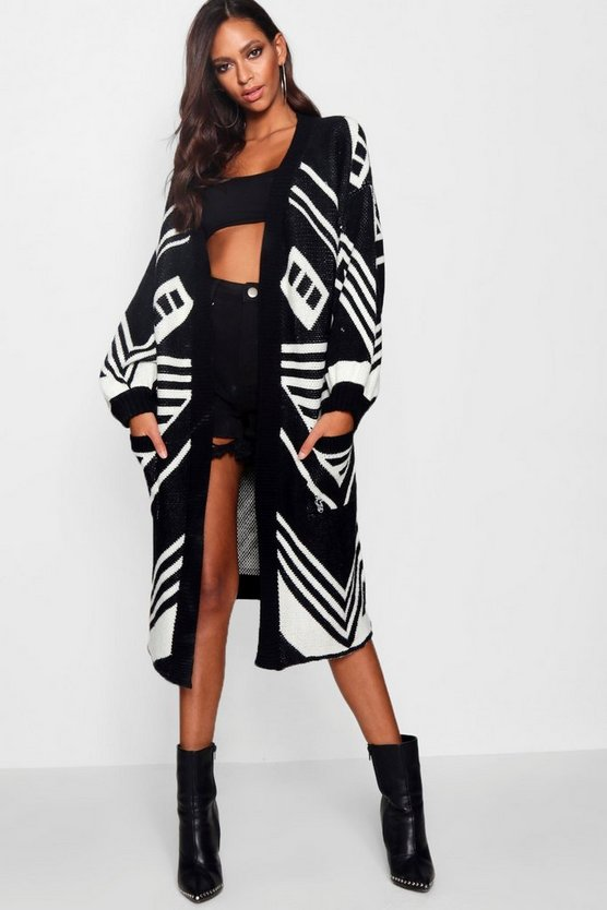 Aztec Intarsia Knitted Volume Sleeve Cardigan