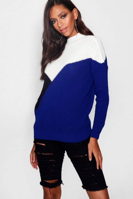 Womens Colour Block Splice Jumper