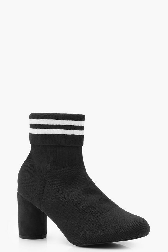 Black Sports Stripe Sock Boots