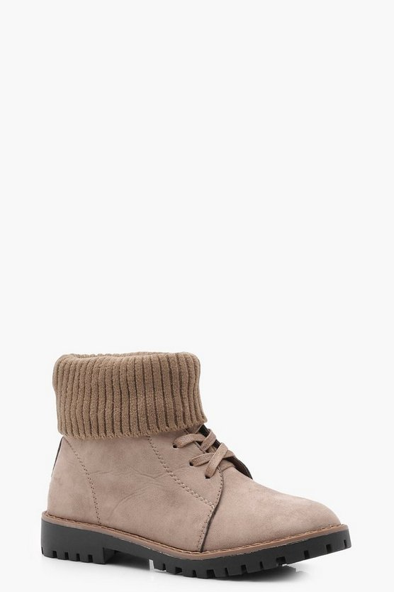 Taupe Knitted Lace Up Hiker