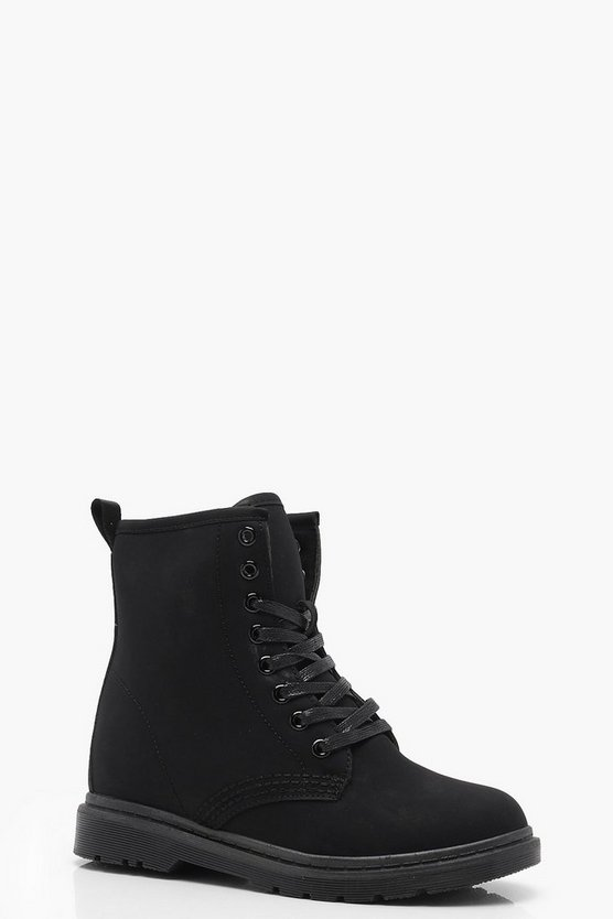 Womens Black Lace Up Hikers