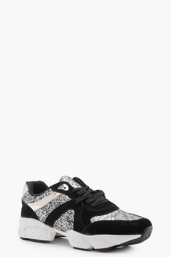 Sports Knit Glitter Trainers
